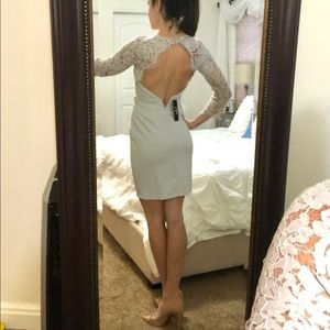 NWT Lulus grey lace open back cocktail dress